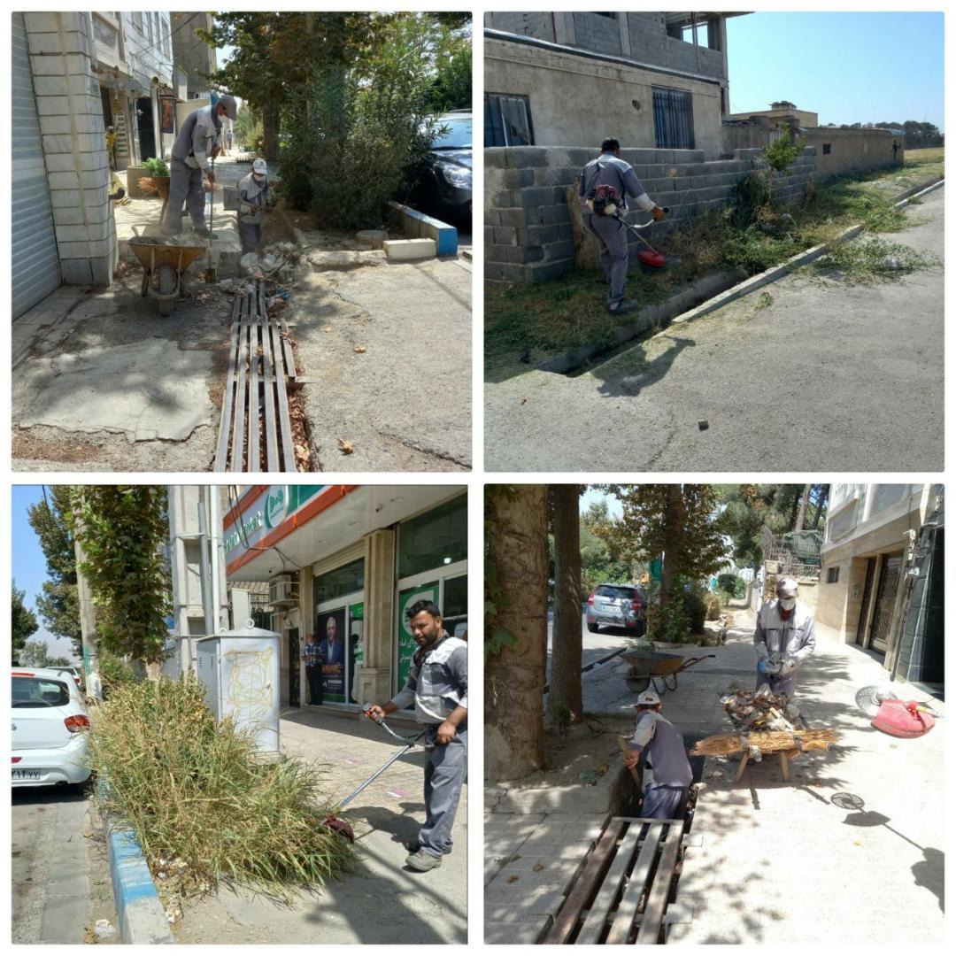 نظافت و پاکسازی کلی فضای ابتدایی خیابان ولیعصر شمالی از سمت خیابان بسیج و کوچههای چمران و قلعهقوند