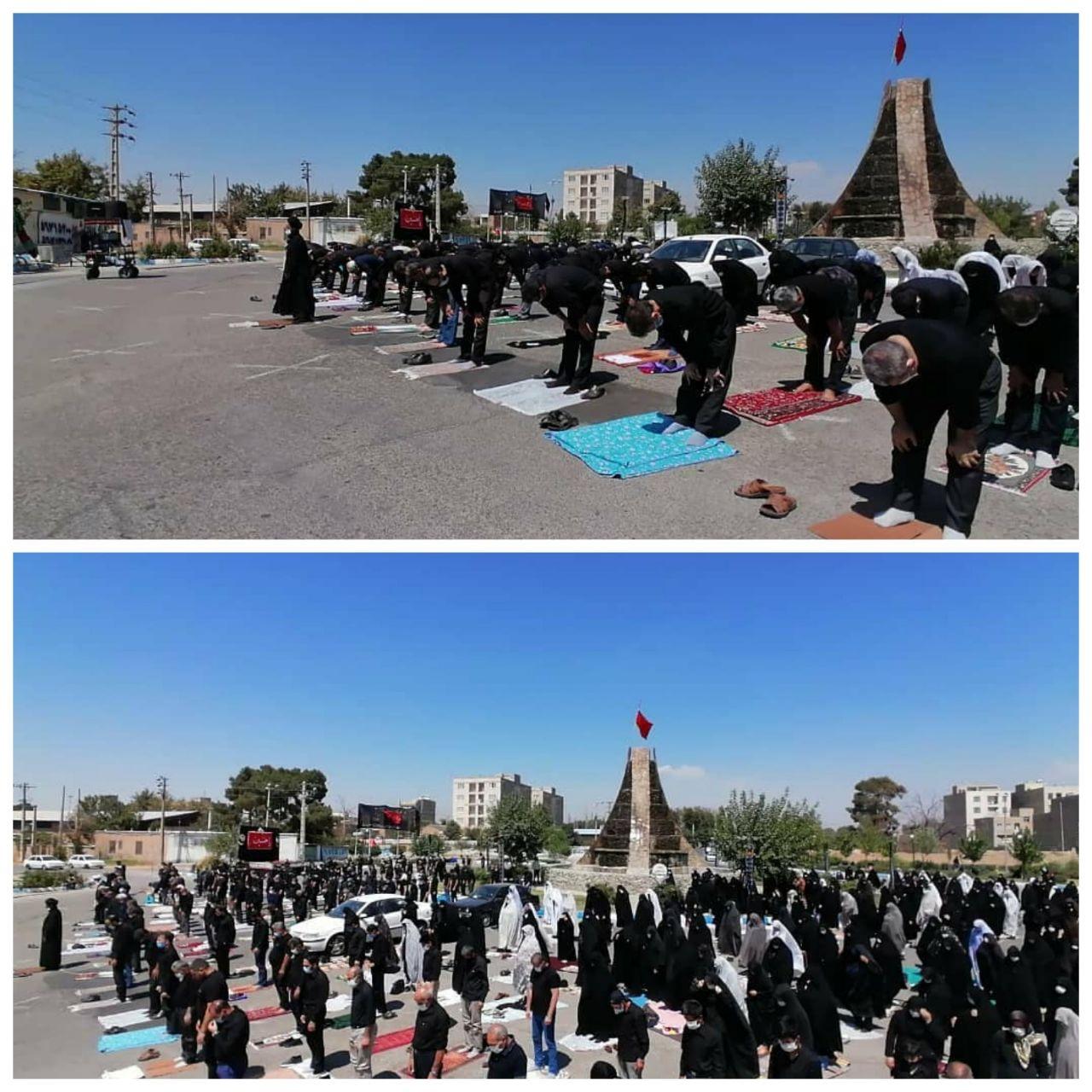 اقامه نماز ظهر عاشورا در شهر احمدآباد مستوفی با رعایت تمامی پروتکل های بهداشتی