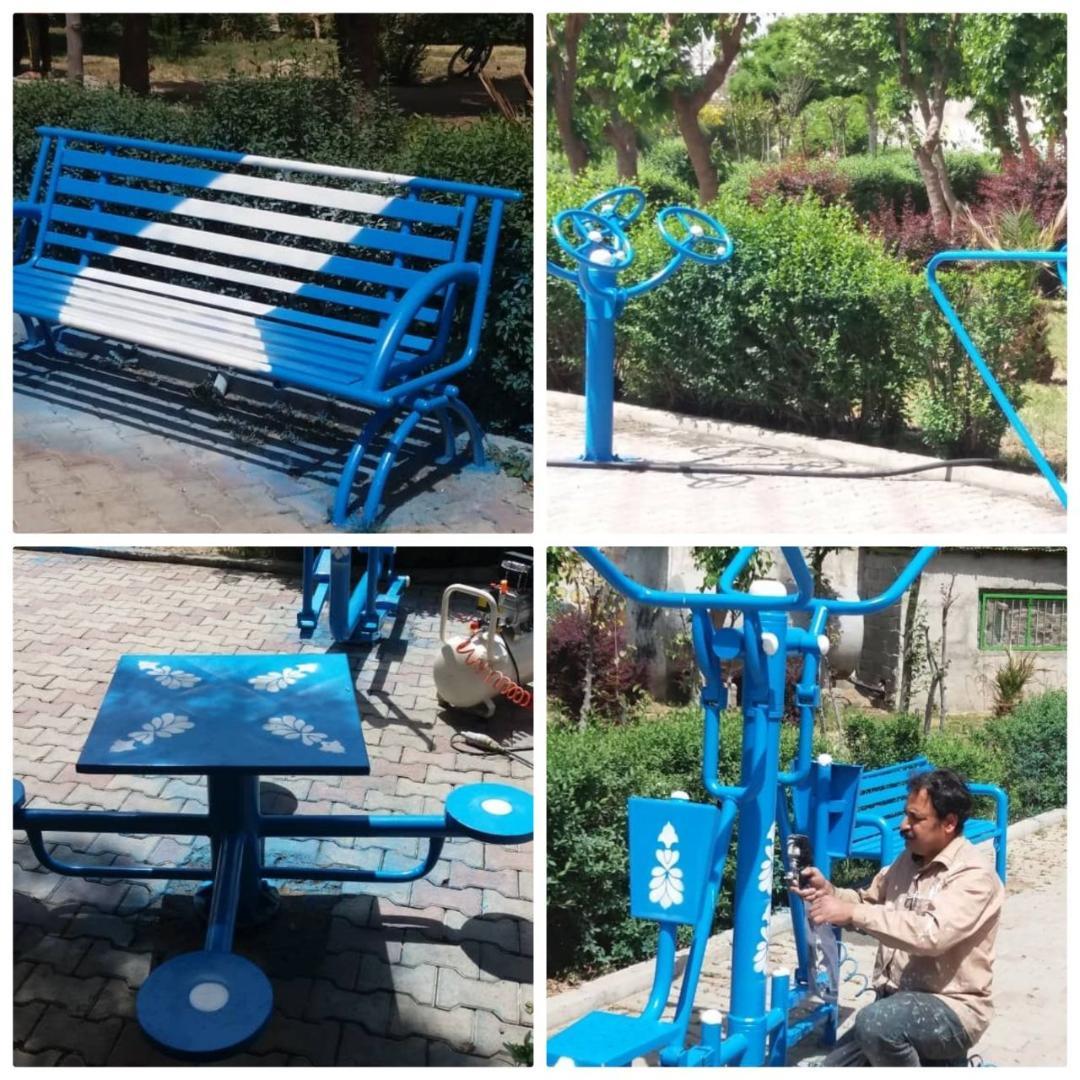 رنگ آمیزی ست های ورزشی و المان های نصب شده در پارک شهید خورشیدی