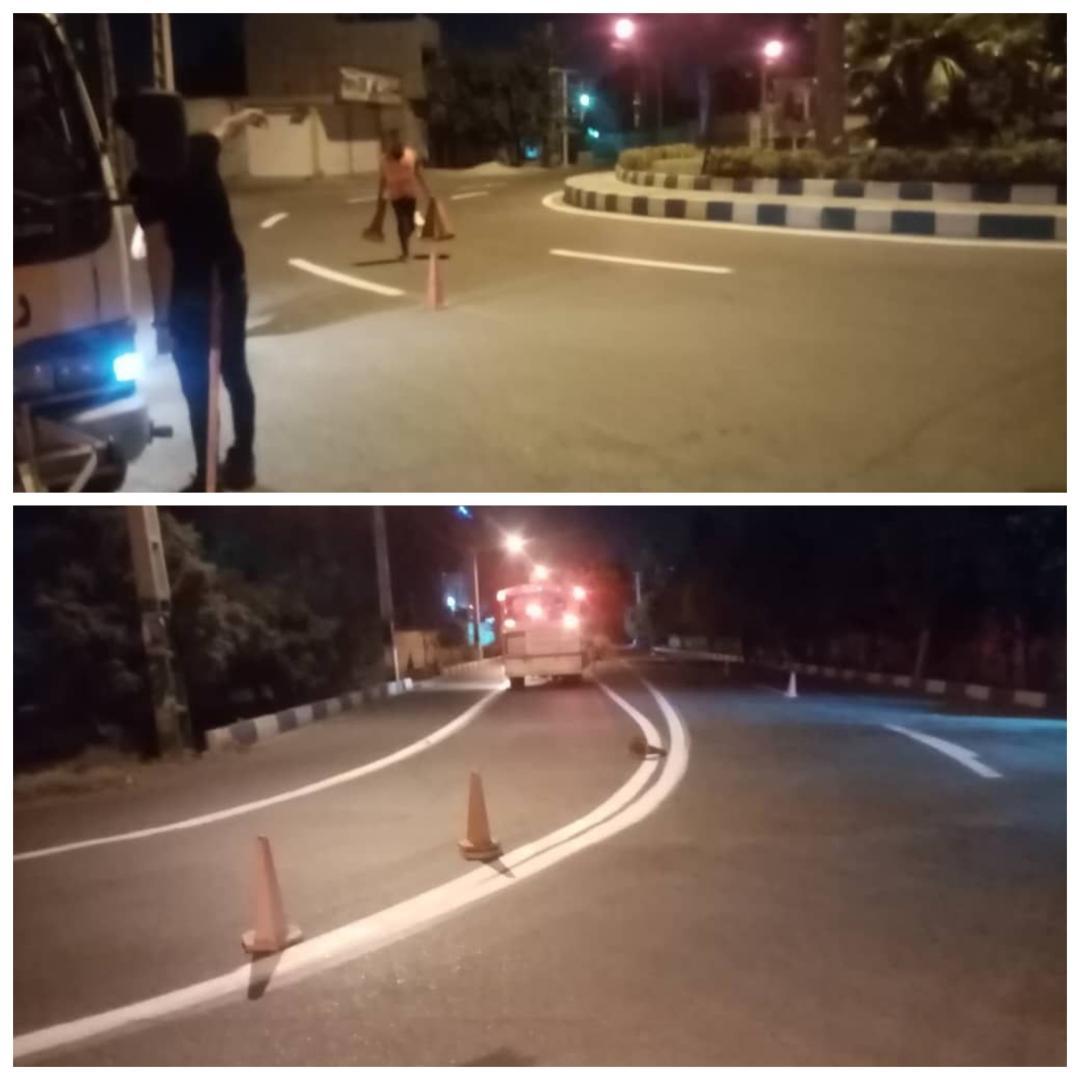 انجام عملیات خط کشی خیابان ها و معابر شهر احمدآباد مستوفی